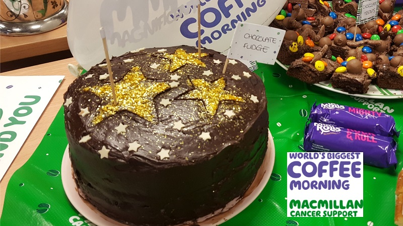 Macmillan Coffee Morning Fudge Cake
